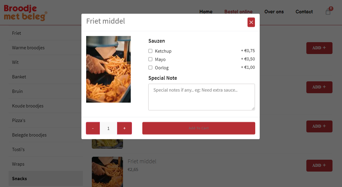 WordPress bestelsite voor Bezorg- / Afhaalrestaurants & Bakkerij